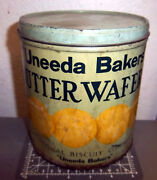 Vintage Uneeda Bakers Butter Wafers Tin, National Biscuit Company Great Graphics
