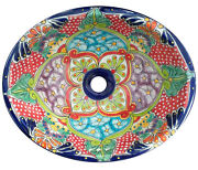 133 Small Bathroom Sink 16x11.5 Mexican Ceramic Hand Paint Drop In Undermount