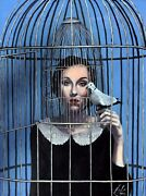 Bird Cage - Oil On Board By Charles Sabourin