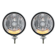 7 Chrome Dietz Crystal Headlight Truck Assembly W/ 6 Amber Auxiliary Leds Pair