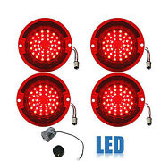 63 Chevy Impala Bel Air Biscayne Red Led Tail Light Lens And Flasher Set Of 4