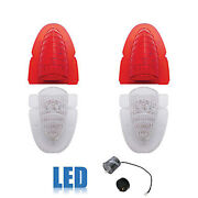 54 1954 Chevy Car Rear Clear Red Led Tail And Back Up Light Lenses W/ Flasher Set