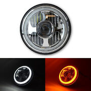 7 Led Projector White Amber Halo Ring Light Bulb Headlight Harley Motorcycle