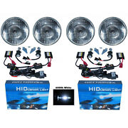 5-3/4 Stock H4 Light Bulb Headlight 6k 6000k White Xenon Hid Hi/low Headlamp Set