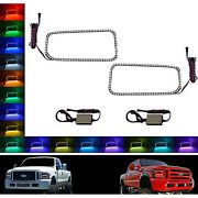 05-07 Ford F-250 Multi-color Changing Led Rgb Smd Halo Upper Headlight Rings Set