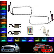 05-07 Ford F-250 Multi-color Changing Led Rgb Halo Upper Headlight Rings Pair Ir