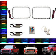 08-10 Ford F-250 Multi-color Changing Led Rgb Halo Lower Headlight Rings Pair Ir