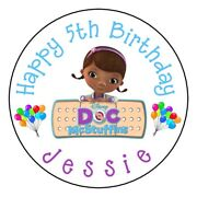 12 Doc Mcstuffins Birthday Party Personalized 2.5 Round Labels Stickers Favors
