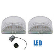 55 1955 Chevy Car Clear White Led Back Up Reverse Light Lamp Lens And Flasher Pair