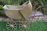 Vintage Antique Tan Wicker Carriage Stroller Bouncy Buggy Baby Photo Prop