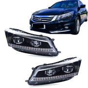 Dual Beam Front Lamps Led Headlights Drl Projector For Honda Accord 2008-2012