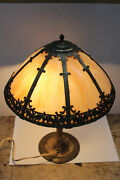 Antique Brass Duffner And Kimberly Lamp Stained Glass Vintage Night Stand