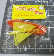 1960s Carnival Prize Plastic Toy Orange Sail Boat W Display Card New And Unopened