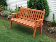 Aandl Furniture Co. Amish-made Cedar Traditional English Garden Bench, In 3 Sizes