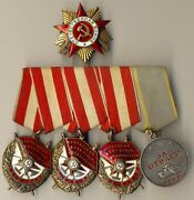 Soviet Medal Order Hero Union Red Banner Set Gpw 1st Gold With Research 1055