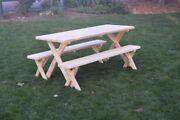 Aandl Furniture Amish-made Pressure-treated Pine Cross-leg Picnic Tables And Benches