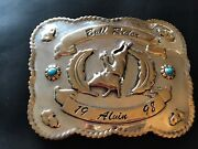 Sterling Silver Turquoise Western Cowboy Bull Rider Alvin Largo Belt Buckle