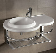 Whitehaus Whkn1125 Ceramic Wall Mount Bath Basin With Integrated Towel Bar