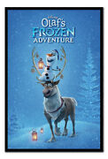Olaf's Frozen Adventure One Sheet Poster Framed Cork Pin Board With Pins