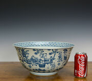Massive Chinese Ming Chenghua Mk Blue And White 100 Boy Playing Porcelain Bowl
