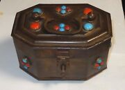 Rare Large Vintage India Faux Turquoise And Coral Stone Brass Box Lock And Key