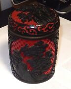 Large Chinese Flower Carved Cinnabar Red And Black Lacquer Enamel Trinket Jar Box