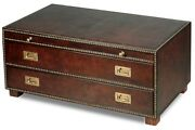 40 L Small Leather Table Brass Nailhead Trim Wood Slide Out Shelf 2 Drawers
