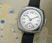 Beautiful And Rare Ladies' Antique Lecoultre Niello Wire Lug Watch Serviced