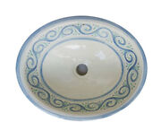053 Large Bathroom Sink 21x17 Mexican Ceramic Hand Paint Drop In Undermount