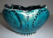 Vintage Mid Century Modern Abstract Owl Art Pottery Bowl Glazed Turquoise Teal