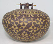 Larry Richmond SIGNED Stoneware Clay Vessel w/Lid Wood Handle Patina Gallery yqz