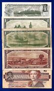 5 Canada Canadian One 1 And 2 Two Dollar Bills Notes Circulated To Unc B