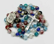 Catholic Rosary Murano Crystal Glass From Medjugorje Rosaries + Gift Holy Card