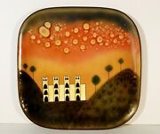 Miguel Pineda Enamel Tray Copper Mcm Art Champleve Taxco Signed