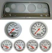 64 Chevy Truck Silver Dash Carrier W/ Auto Meter Ultra Lite Electric Gauges