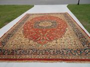 Oriental Rug 10 X 14and0393 Red/navy Wool India Handwoven Dover Design No Pets/smok