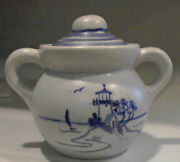 IPSWICH CRAFTS HAND PAINTED  POTTERY LIDDED POT WITH LIGHTHOUSE SIGNED