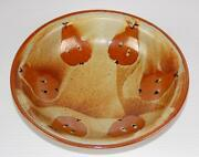 """GINNY STUDIO ART RED STONEWARE POTTERY HAND PAINTED PEARS SERVING BOWL 10"""""""