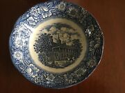 Set of six Liberty Blue Staffordshire Ironstone Mount Vernon Fruit Cereal Bowls