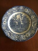 Set of six Liberty Blue Staffordshire Ironstone Independence Hall Dinner Plates