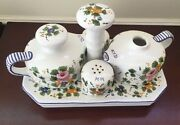 Cottura Ceramic Art Imports Rosa Floral Hand painted Pardi Condiment Stand Tray