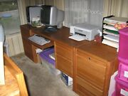 Solid Oak Computer Desk And Matching Filing Cabinets Made By Ls Oak Furniture