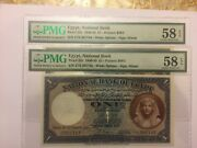 Two Consec Notes 1940 £1 Egypt National Bank Pmg 58 Epq Choice About Unc N92