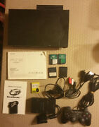 Sony Playstation 2 W/ Flip Lid Network Adapter Hard Drive And Games