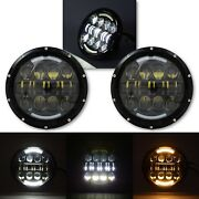 7 Black Projector Hid 6500k Led Octane Headlight W/ White And Amber Drl Pair