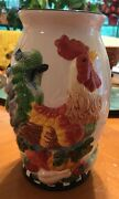 """Ceramic Pottery Vase With Large 3D Rooster On Vegetable 10"""" New"""
