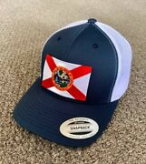 State Of Florida Flag Hat Snapback Trucker Mesh Cap Handcrafted In Florida