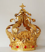 Imperial Crown For Virgin Mary Cesiled By Hands Brass Plated In Gold -