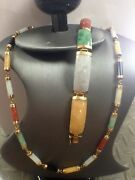 Ladie Multi Colored Jadeite Jade Necklace And Bracelet Set In 14k Yellow Gold
