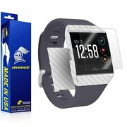 Armorsuit - Screen Protector + White Carbon Fiber Skin For Fitbit Ionic
